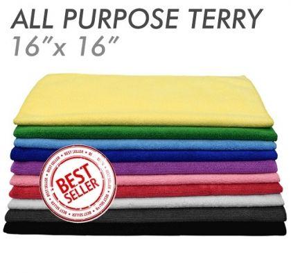 3x All-Purpose Microfiber Terry Towel Green 41 x 41см